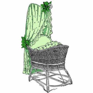Vintage Green Baby Bassinet Statuette