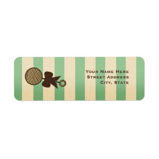 Vintage Green Baby Shower Rattle & Stripes Custom Return Address Label