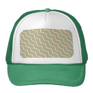 Vintage Green Beige Chevron Pattern Trucker Hat