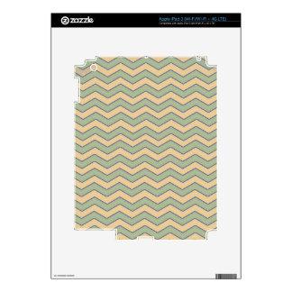 Vintage Green Beige Chevron Pattern Decals For iPad 3