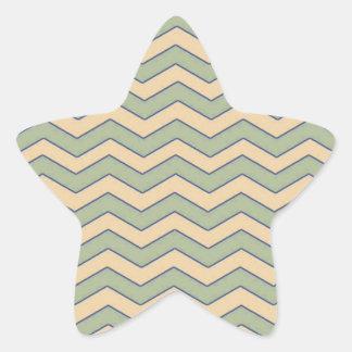 Vintage Green Beige Chevron Pattern Star Sticker