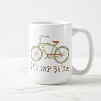 Vintage Green Bicycle I Love My Bike Mug