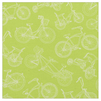 Vintage Green Bicycle Pattern Fabric