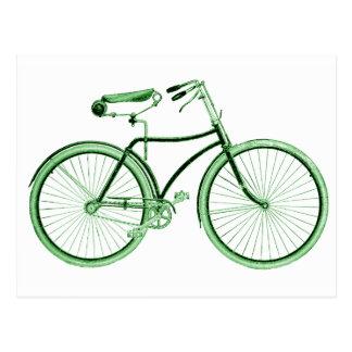 Vintage Green Bicycle Postcard