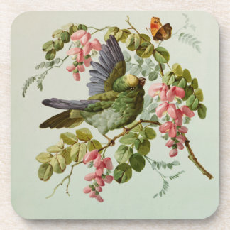 Vintage Green Bird and Pink Flowers Coaster