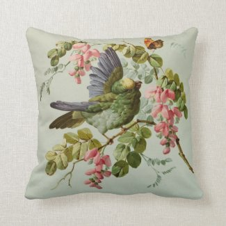 Vintage Green Bird and Pink Flowers Throw Pillow