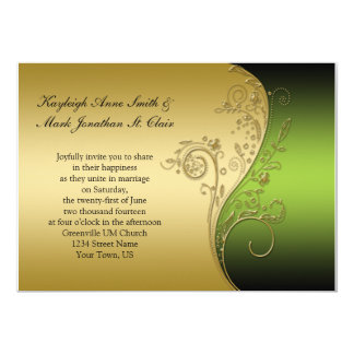 Vintage Green Black and Gold Wedding Invitation