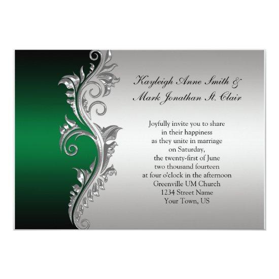 Vintage Green Black and Silver Wedding Invitation