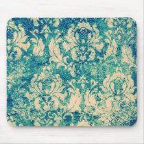 VIntage  Green Blue Floral  Damask Mouse Pad