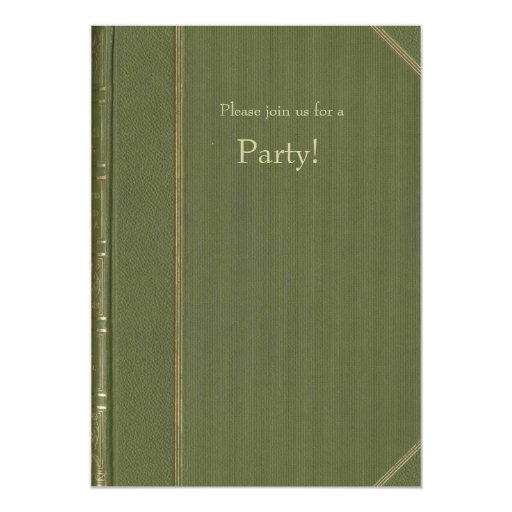Vintage Green Book Invitation