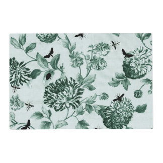 Vintage Green Botanical & Bugs Floral Toile Placemat