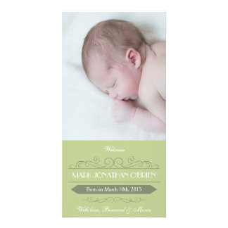Vintage Green Boy Birth Announcement Photocard Picture Card