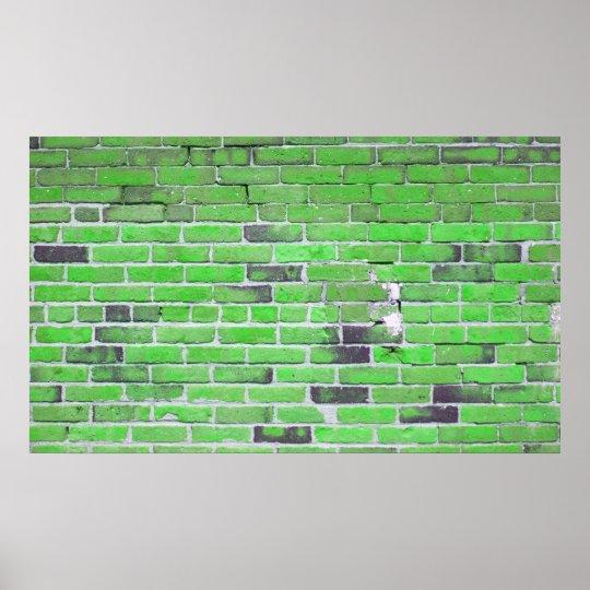 Vintage Green Brick Wall Texture Poster