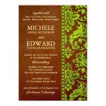 Vintage Green & Brown Damask Lace Wedding Card