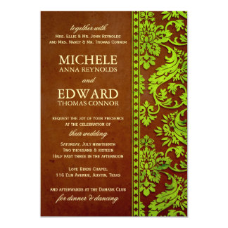 Vintage Green & Brown Damask Lace Wedding 5x7 Paper Invitation Card