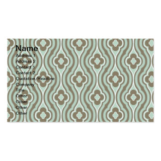 Vintage  Green Brown Floral Pattern Double-Sided Standard Business Cards (Pack Of 100)