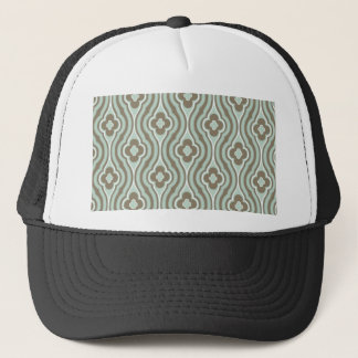 Vintage  Green Brown Floral Pattern Trucker Hat