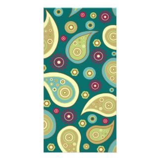 Vintage green brown paisley floral pattern card