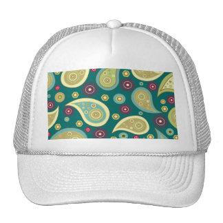 Vintage green brown paisley floral pattern trucker hat