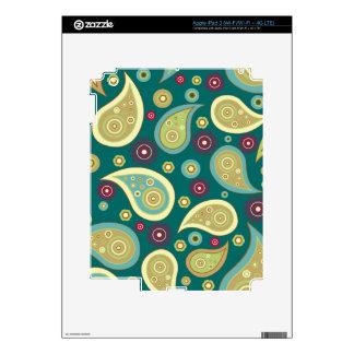 Vintage green brown paisley floral pattern iPad 3 skins