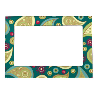 Vintage green brown paisley floral pattern magnetic photo frame