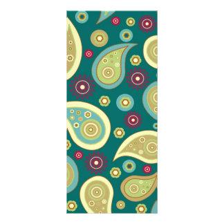 Vintage green brown paisley floral pattern rack card