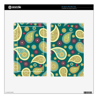 Vintage green brown paisley floral pattern kindle fire decals
