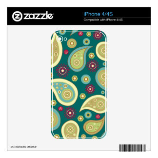 Vintage green brown paisley floral pattern skins for the iPhone 4S