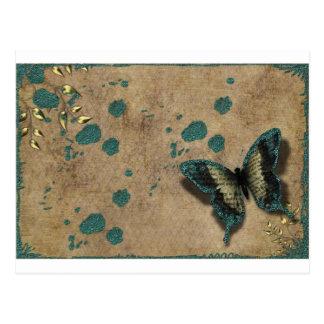 Vintage Green Butterfly Postcard