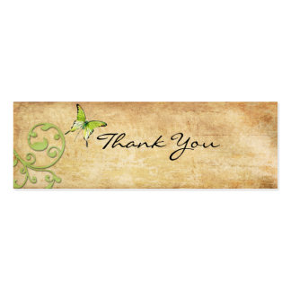 Vintage Green Butterfly Thank You Note Business Card