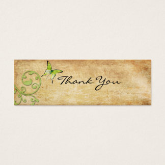 Vintage Green Butterfly Thank You Note Mini Business Card