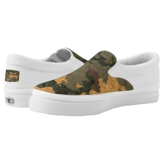 Vintage green Camouflage... Slip-On Sneakers