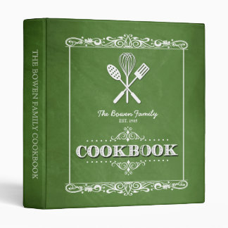 Vintage Green Chalkboard Family Cookbook 3 Ring Binder