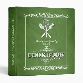 Vintage Green Chalkboard Family Cookbook 3 Ring Binder
