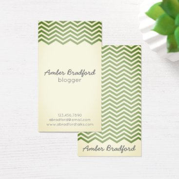 Professional Business Vintage Green Chevron Business Cards