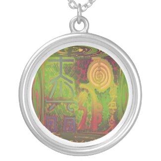 VINTAGE Green Choice Reiki Main Symbols necklace