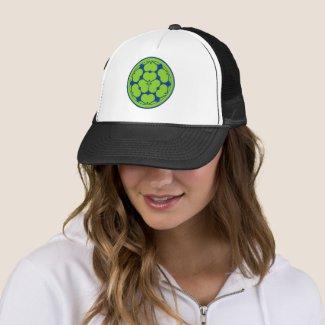 Vintage Green Chosokabe Japan Mon Graphic Trucker Hat
