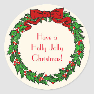 Vintage Green Christmas Holly Wreath with Red Bow Classic Round Sticker