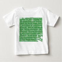 Vintage Green Christmas Musical Sheet Baby T-Shirt