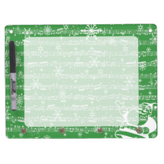 Vintage Green Christmas Musical Sheet Dry Erase Board With Keychain Holder