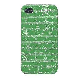 Vintage Green Christmas Musical Sheet Covers For iPhone 4