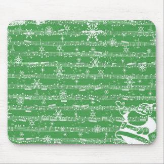 Vintage Green Christmas Musical Sheet Mouse Pad