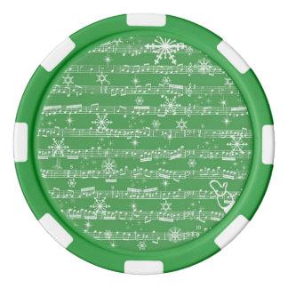 Vintage Green Christmas Musical Sheet Poker Chips