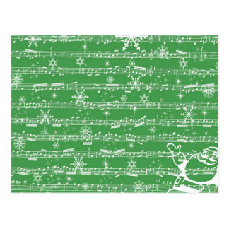 Vintage Green Christmas Musical Sheet Postcard