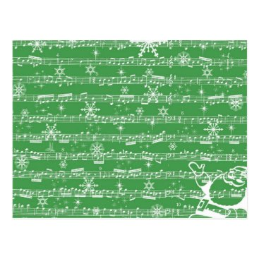 Christmas Themed Vintage Green Christmas Musical Sheet Postcard