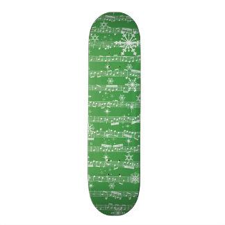 Vintage Green Christmas Musical Sheet Skateboard Deck