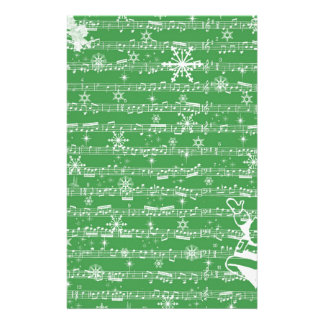 Vintage Green Christmas Musical Sheet Stationery