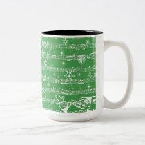 Vintage Green Christmas Musical Sheet Two-Tone Coffee Mug
