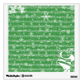 Vintage Green Christmas Musical Sheet Room Sticker