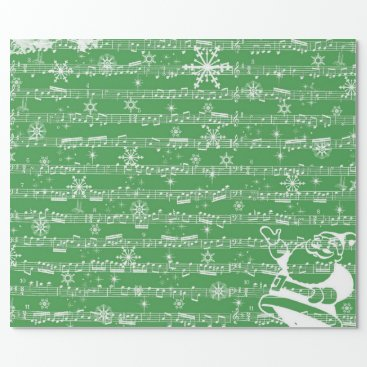 Christmas Themed Vintage Green Christmas Musical Sheet Wrapping Paper